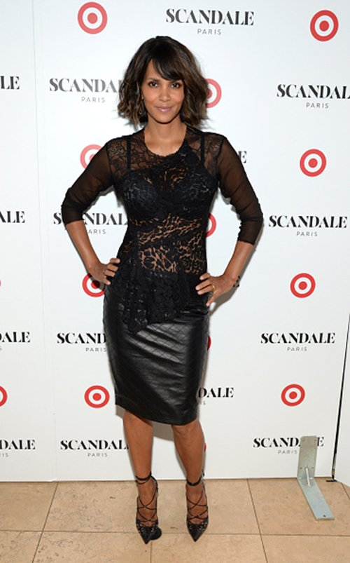 halle 102314  1  Halle Berry in Nina Ricci & Rebecca Vallance at her Scandale Paris   Lingerie Launch