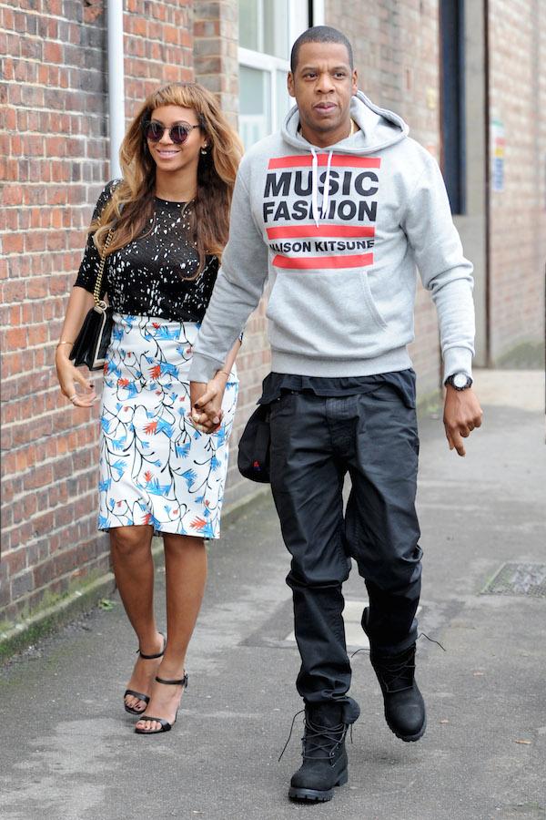 jay z london maison kitsune grey hoodie  Jay Z  In Maison Kitsuné Music Fashion Hoodie in London