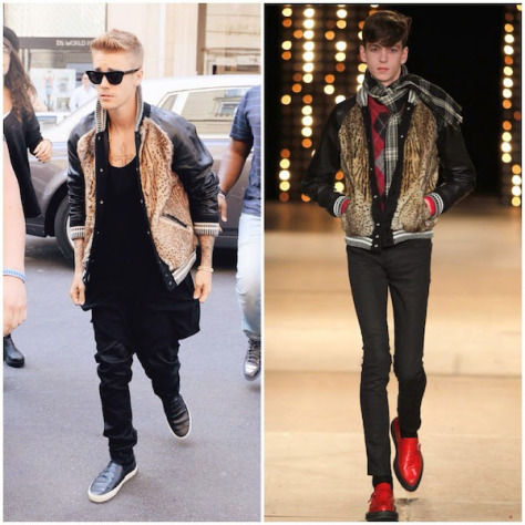 justin-bieber-wears-saint-laurent-by-hedi-slimane-fall-winter-2014-animal-print-fur-front-varsity-bomber-jacket-in-paris-september-2014