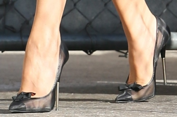 Tom Ford bow mesh pumps that has metallic heels