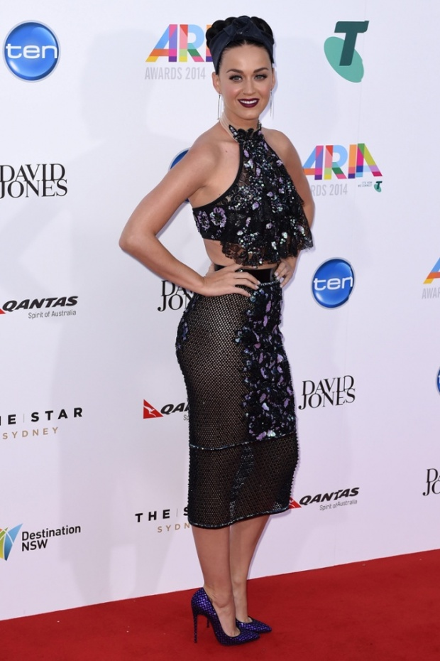 Katy Perry wearing a Jaime Lee Major design at the 2014 ARIA Awards in Sydney.