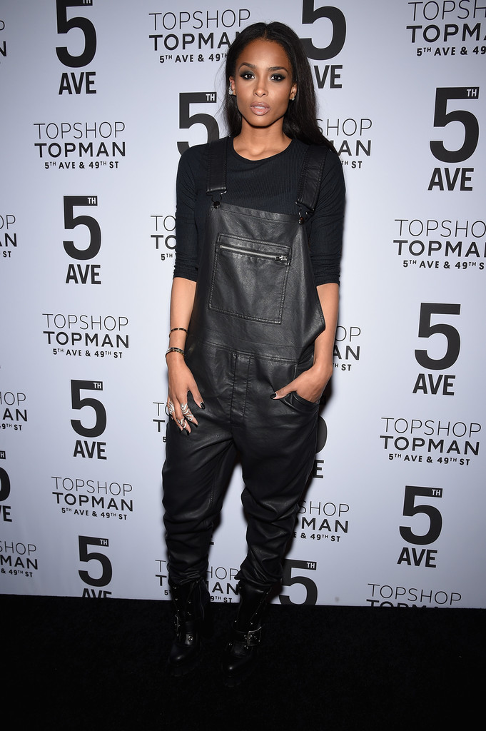 Ciara-Topshop-Topman-NYC-Flagship-Dinner-Black-Leather-Overalls