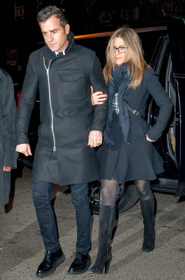 Jennifer-Anniston-with-Justin-Theroux-in-All-Saints-Fall-Winter-2014-Barton-side-zip-bog-pocket-coat