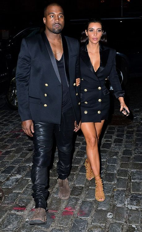 Kim-Kardashians-New-York-City-Balmain-Double-Breasted-Dress-Kanye-West-Balmain-Gold-Buttoned-Blazer