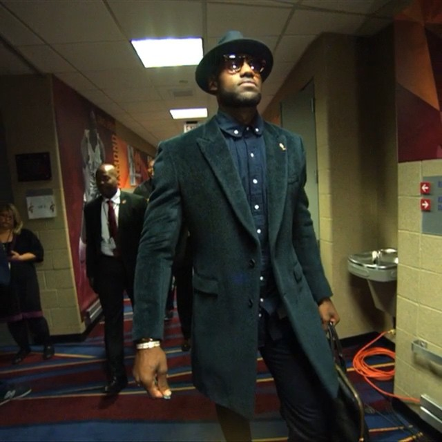 Lebron-James-wears-Balenciaga-Coat-Thom-Browne-Shirt-for-Season-Opener