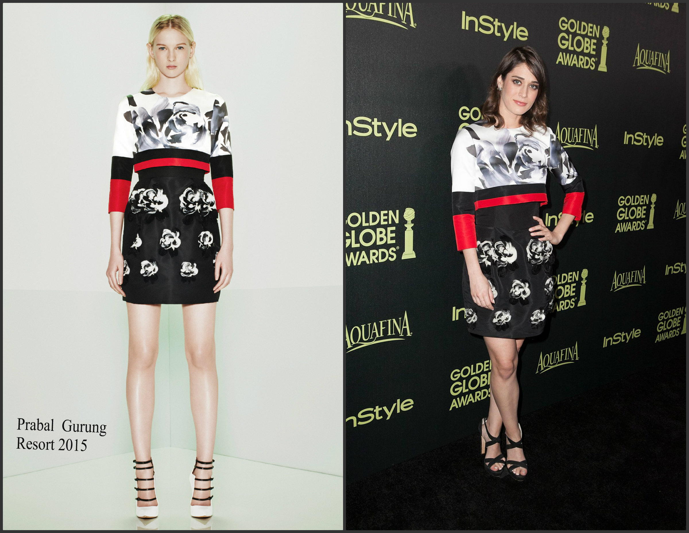 Lizzy-Caplan-in Prabal-gurung- Hollywood- Foreign-Press-Asso