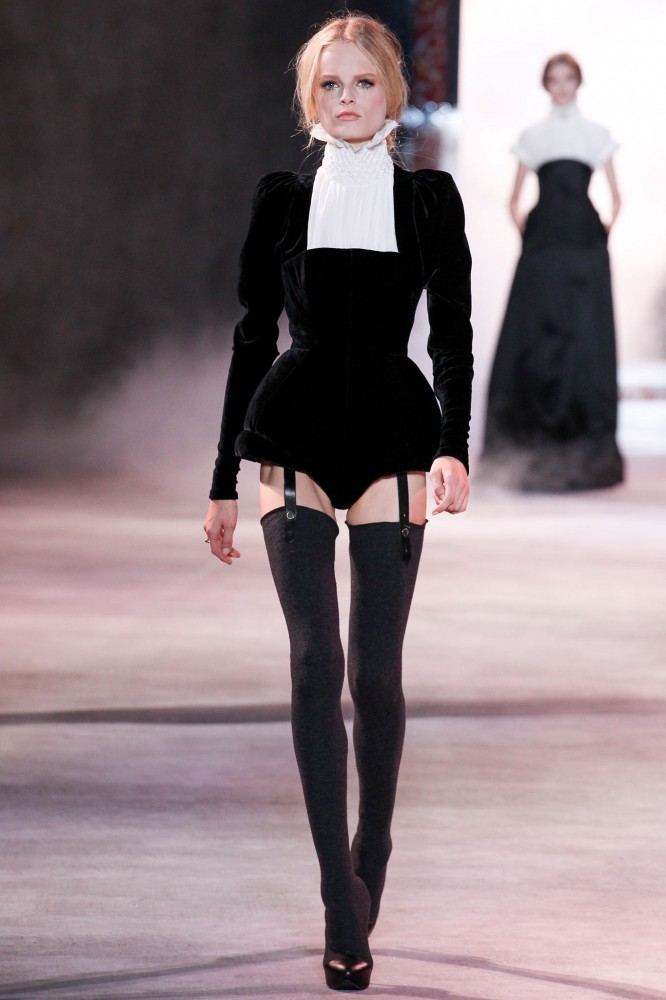 -Rita-Oras-Z100-Jingle-Ball-Ulyana-Sergeenko-Fall-2013-Couture-Black-Velvet-Bodysuit-and-Boots1-666x1000