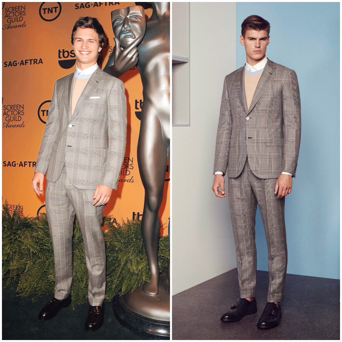 Ansel-Elgort-wears-Brioni-Spring-Summer-2015-grey-check-suit-to-21st-Annual-Screen-Actors-Guild-Award-Nominations-10th-December-2014