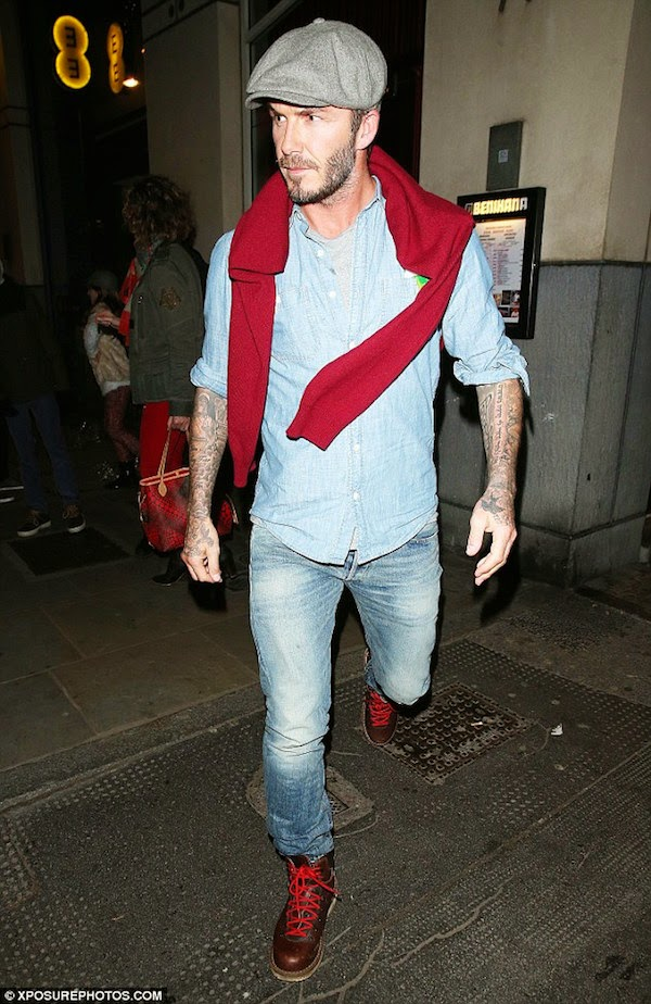 David-Beckham-wears-Denim-Supply-Ralph-Lauren-Chambray-Utility-Shirt-at-Benihana-Japanese-Restaurant-Kings-Road-London-15th-December-2014