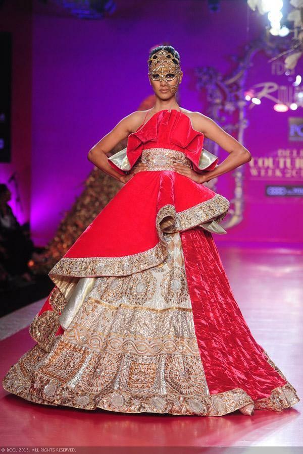 Nethra Raghuraman showcases a creation by designer Ritu Beri on Day 4 of Delhi Couture Week, held in New Delhi, on August 03, 2013.