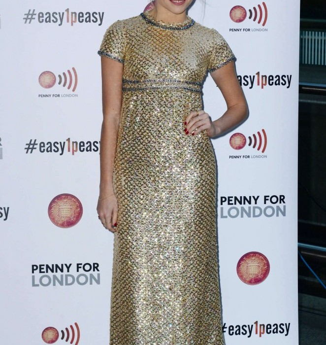 Pixie Lott wears gold  Vintage  dress -Performing for Penny for London