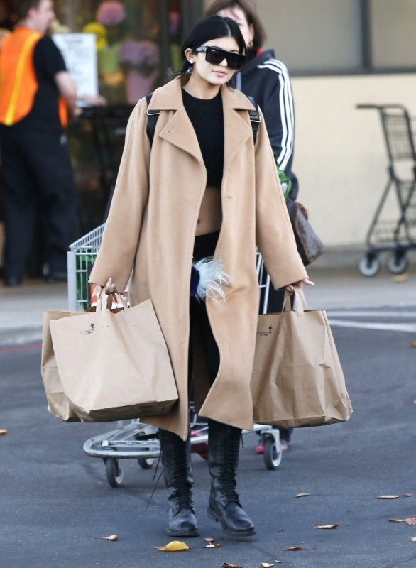 3f2ef502f6610 Kylie Jenner wears Max Mara and Ann Demeulemeester Grocery Shopping ...