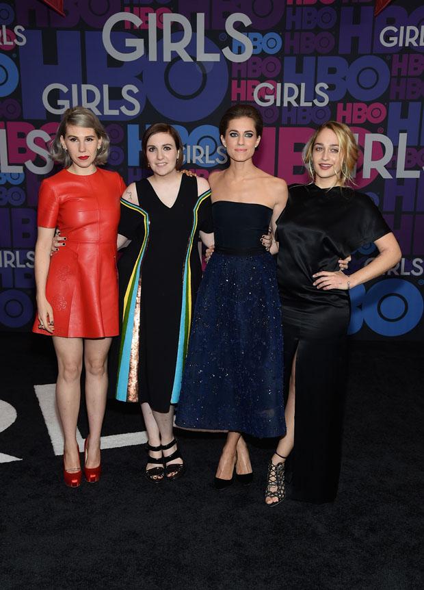 Zosia Mamet wears Alexander McQueen, Lena Dunham in Creatures of the Wind, Allison Williams in Monique Lhuillier and Jemima Kirke wears Opening Ceremony