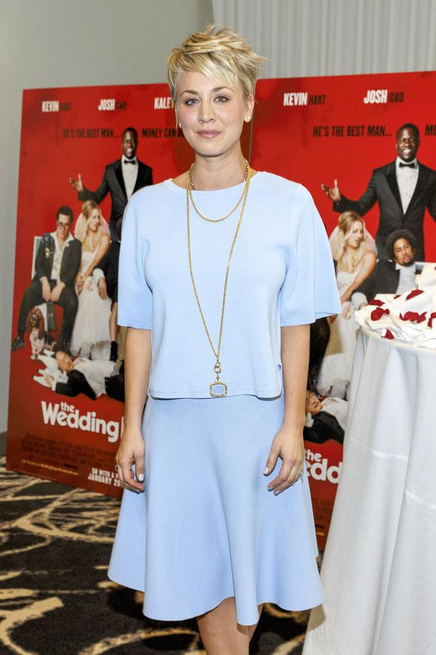 Kaley- Cuoco- wears -Jonathan- Simkhai - 'The- Wedding -Ringer' - photocall - LA.