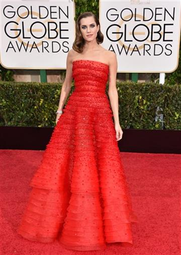 Allison Williams wears Armani Prive at the 72nd Annual Golden Globe Awards