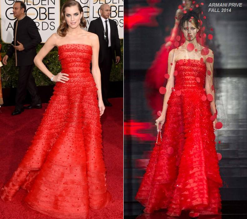 Allison- Williams- wears- Armani -Prive- at- the -72nd- Annual -Golden -Globe- Awards