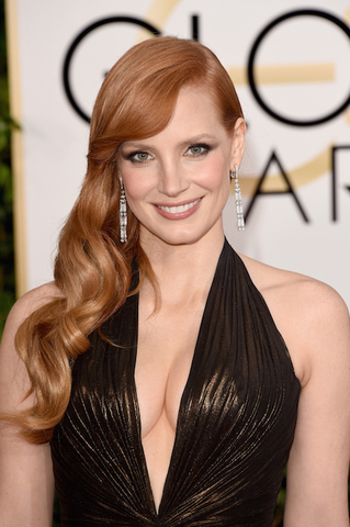 Jessica -Chastain -wears- Atelier- Versace at the 72nd Annual- Golden -Globe- Awards