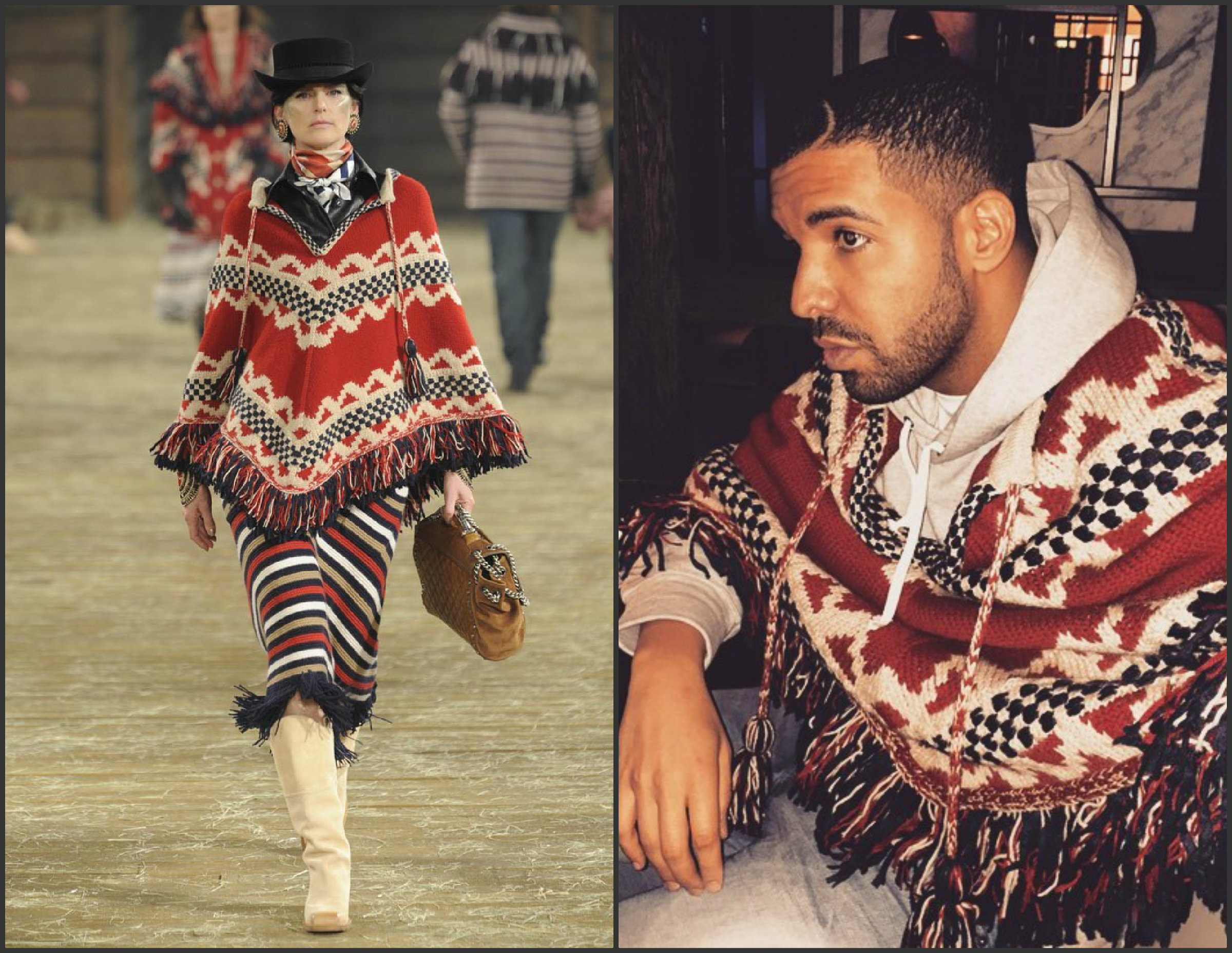 Drake-wearing -Chanel-Poncho