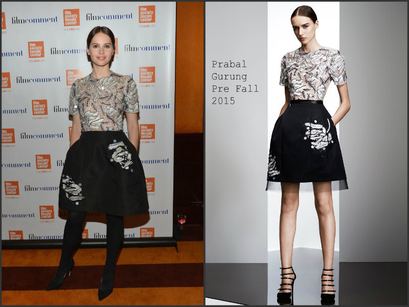 Felicity-Jones-wears-Prabal- Gurung- 2015- Film- Comment- Luncheon