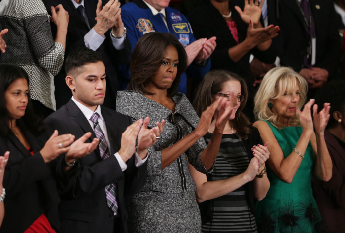 First-Lady-Michelle-Obamas-State-of-the-Union-Address-Michael-Kors-Fall-2013-Black-and-White-Jacket-and-Skirt-700x473