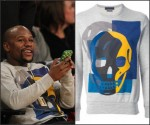 Floyd Mayweather in Alexander McQueen –   Courtside  Lakers game