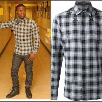 Kevin-Hart-in-Givenchy-Plaid-Shirt-Balmain-jeans-