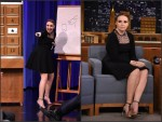 Lena Dunham  wears  Saint Laurent – 'The Tonight Show Starring Jimmy Fallon'