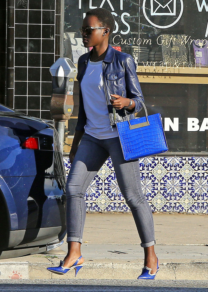 Lupita-Nyongo- spotted - with -Balenciaga -'Cable' -Shopper – Out- In -LA