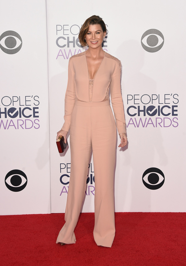 Ellen Pompeo in a blush pink long sleeve Elie Saab Resort 2015 lace panel jumpsuit . Styled with Louboutin heels, Dana Rebecca design ring, and Graziela Gems earrings along with a box clutch .