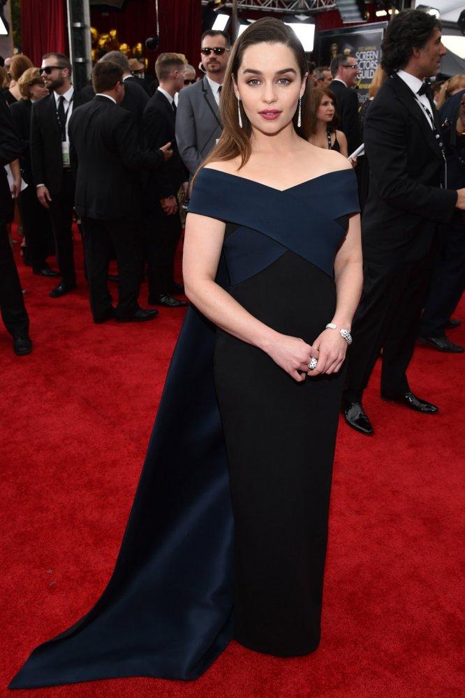 Emilia -Clarke- in- DONNA- KARAN -ATELIER- at- the -2015- SAG -Awards