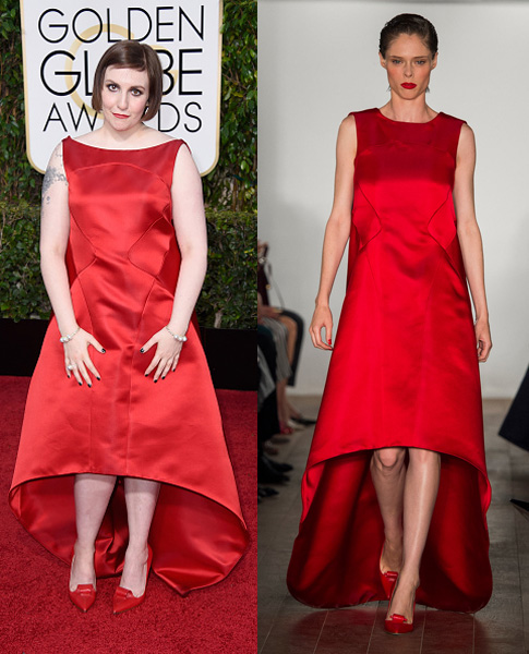 Lena- Dunham - in -Miu -Miu -at- the -72nd -Annual -Golden -Globe- Awards