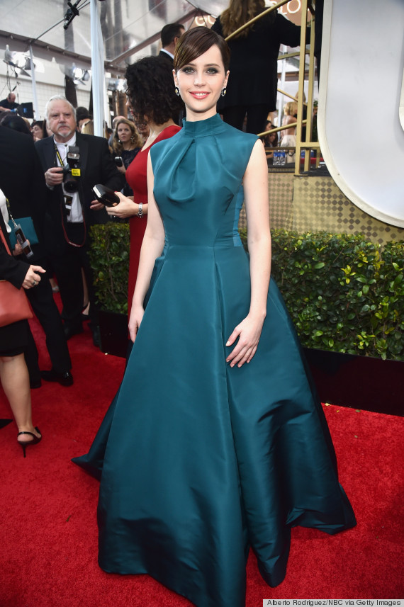 Felicity -Jones- wears -Christian -Dior -at- the -72nd -Annual -Golden -Globe -Awards