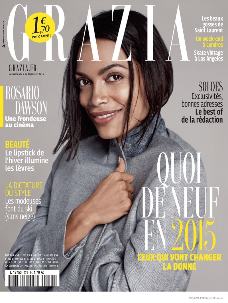 Rosario Dawson Covers Grazia France Magazine January 2015