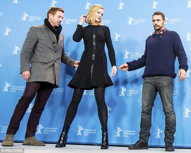 The actress was joined by her co-stars Damian Lewis, left, and James Franco, right