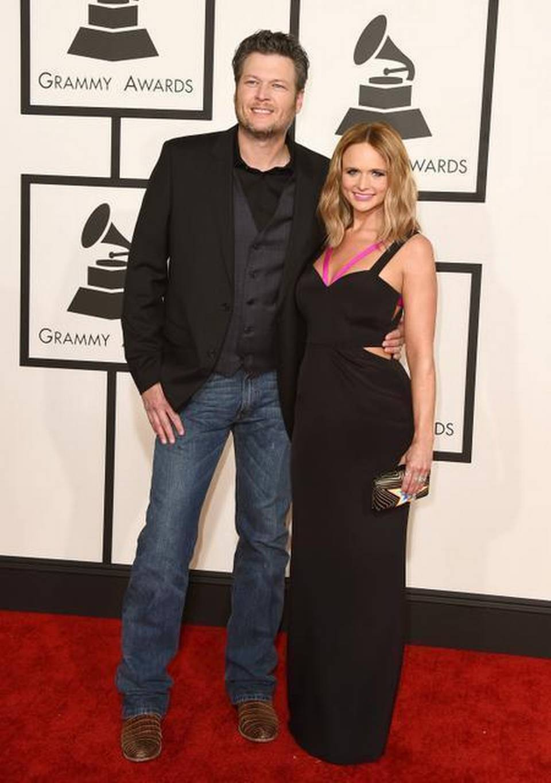 Blake -Shelton,- and -Miranda -Lambert- arrive -at the- 57th -annual -Grammy -Awards -