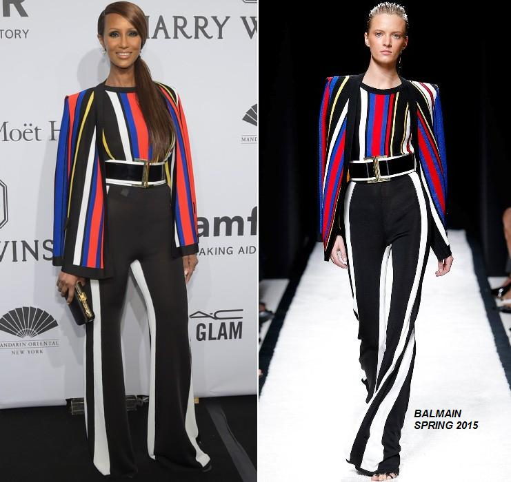 Iman -in -Balmain- at- the -2015- amfAR- New -York- Gala