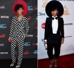 Janelle Monae  In Moschino & Dsquared²  at the Roc Nation Pre-Grammy  Brunch & Pre-Grammy Gala