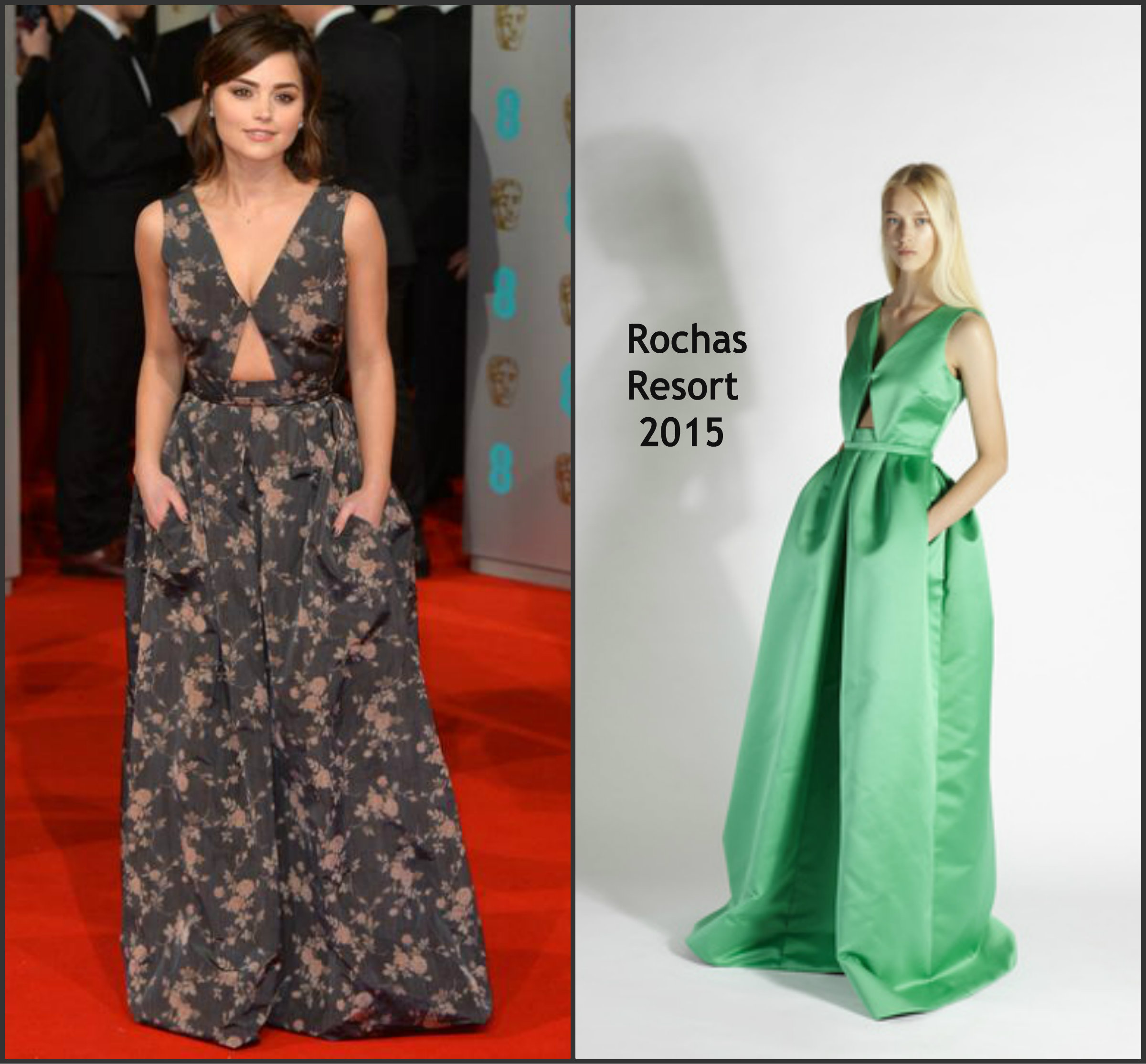 Jenna-Coleman-In-Rochas-at-the-2015-BAFTAs