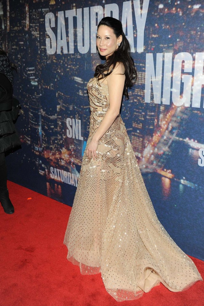Lucy -Liu -In- Zuhair -Murad -Couture- at - SNL- 40th- Anniversary- Celebration