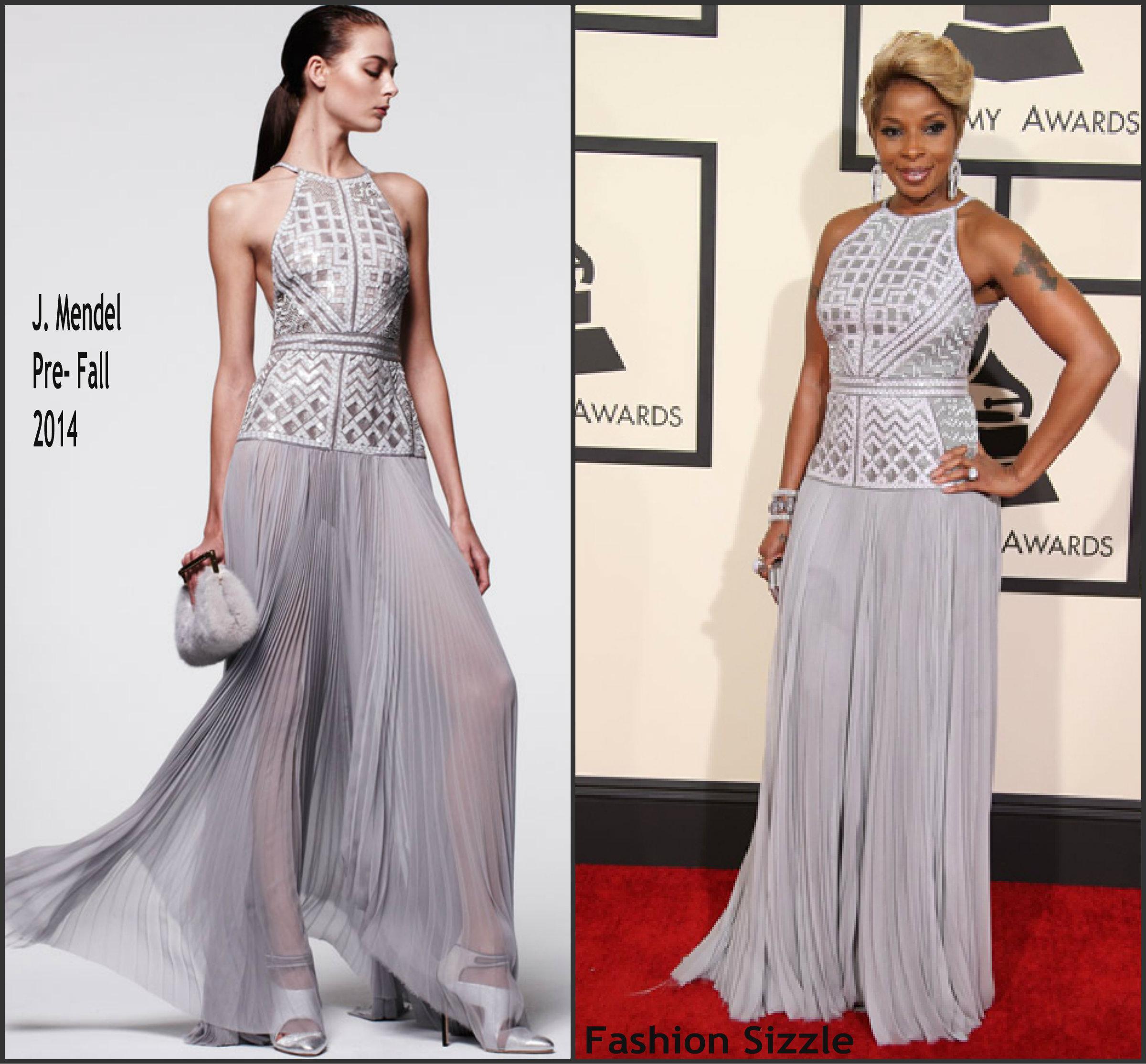 Mary-J-Blige-In-J-Mendel-at-the-2015 -Grammy-Awards