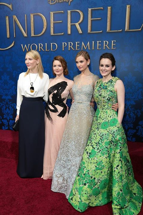 Cate Blanchett, Holliday Grainger, Lily James, and Sophie McShera attend the World Premiere of Disney's Cinderella in Hollywood.