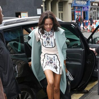 8-0-Naomie-Harriss-Into-Film-Awards-Peter-Pilotto-Pink-Printed-Mini-Dress-Silver-Christian-Louboutin-Pumps-and-Pale-Blue-Burberry-Coat