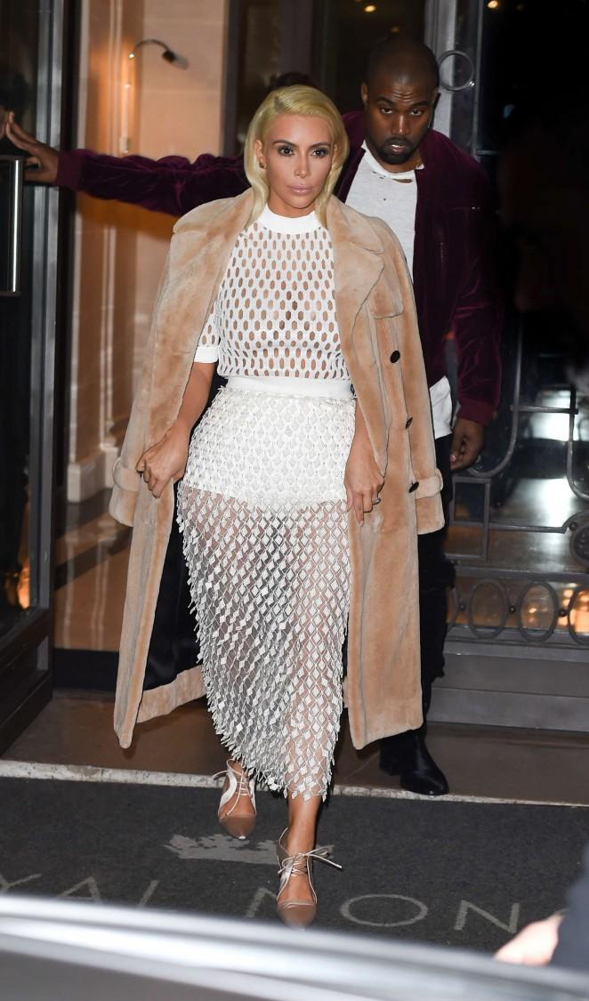 Kim-Kardashian-in-White-Mesh-Dress-paris-fashion-week-2015