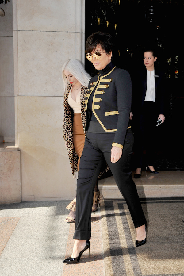 Kris Jenner and Kendall Jenner out and about in Paris. Paris,