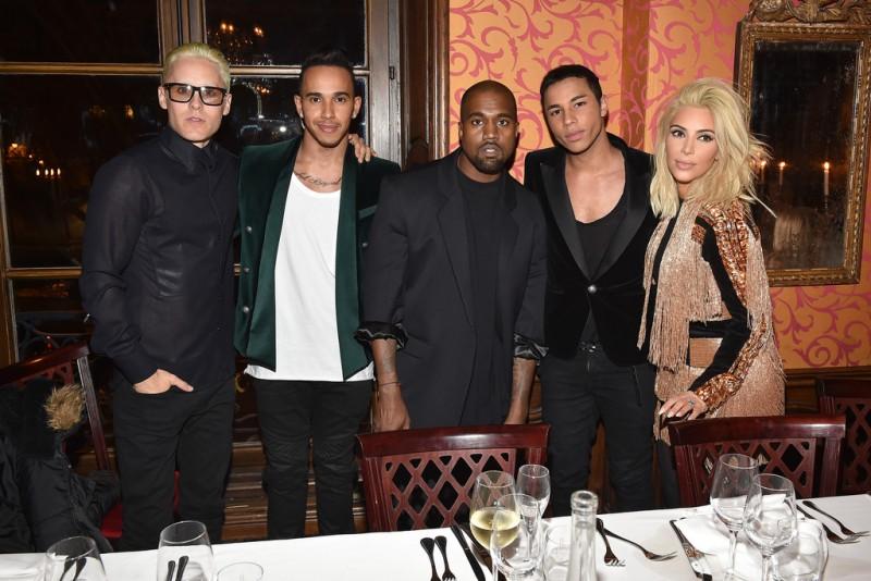 Pictured : Jared Leto, Lewis Hamilton, Kanye West, Olivier Rousteing and Kim Kardashian
