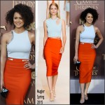 Nathalie Emmanuel In Mugler  at the  'Game of Thrones' Season 5 Premiere