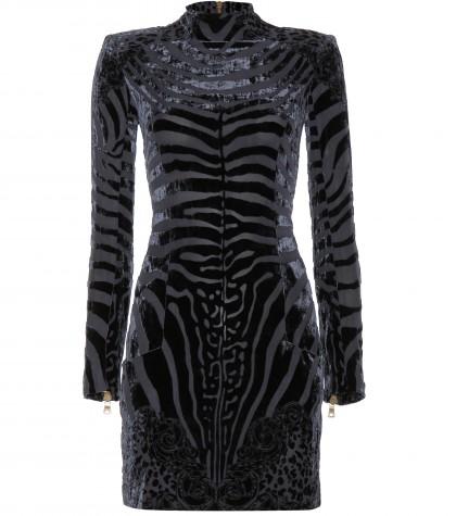 Nicole-Richies-Australia-Golden-Slipper-Race-Day-Balmain-Velvet-and-Silk-Chiffon-Zebra-Mini-Dress1