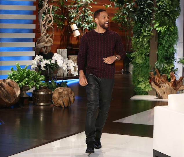 Will-Smith-wears-Dries-Van-Noten-Knit-Pullover-Knit-Print-Sweatshirt-Helmut-Lang-black-leather-trace-pants-Lanvin-Cap-Toe-High-top-sneakers-shoes-on-Ellen-Degeneres-Show