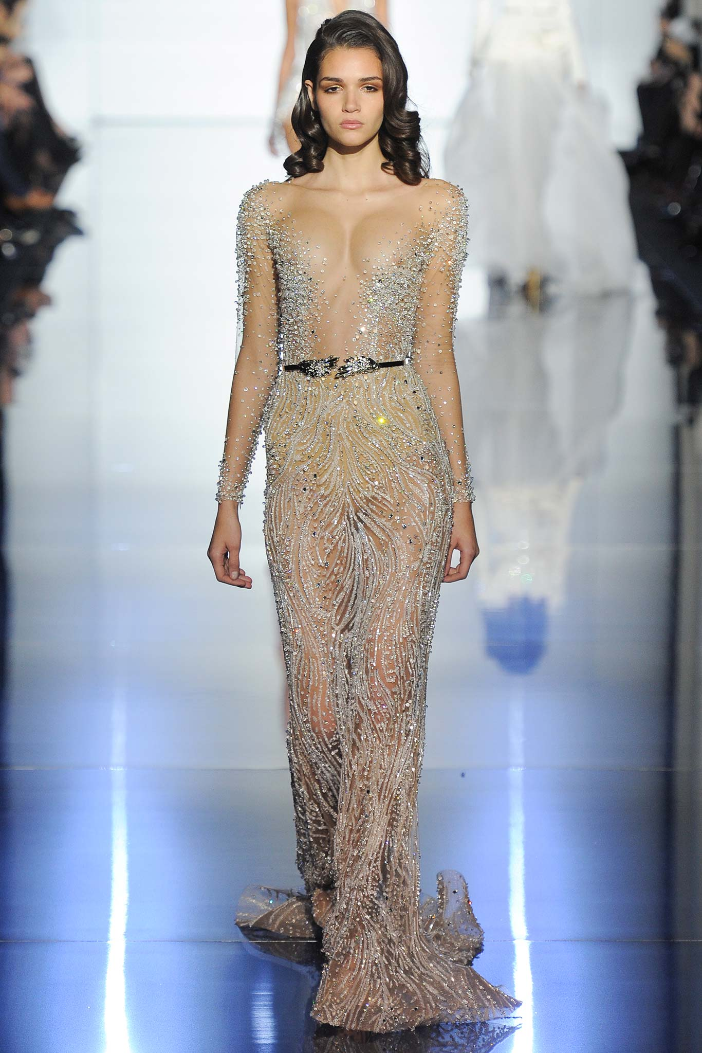 Jennifer Lopez in Awful Naked Embellished Zuhair Murad Gown