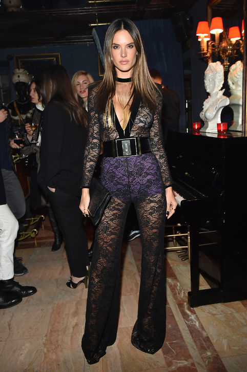 alessandra-ambrosio-balmain-lace-jumpsuit-aftershow-dinner-fall-2015-